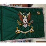 Flag, Organizational, 3rd Battalion, 5th Special Forces Group, Rayon, 3 feet by 4 feet, Jungle Green with Silver Gray fringe