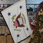 Vice President of the United States Flag, 4-foot 4-inch hoist by 5-foot 6-inch fly, Hand Embroidery, Rayon, with Fringe, SOLD!!!