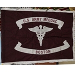 Flag, Organizational, United States Army Medical Department Activities (MEDDAC), Boston,  Rayon, 3 feet by 4 feet with White fringe