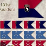 Guidons, Headquarters and Headquarters Company, 3rd Battalion, 187th Infantry Regiment , 20-inch hoist by a 27-inch fly