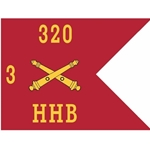Guidons, Headquarters and Headquarters Battery, 3rd Battalion, 320th Field Artillery Regiment, 20-inch hoist by a 27-inch fly