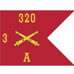 Guidons, Alpha Battery, 3rd Battalion, 320th Field Artillery Regiment, 20-inch hoist by a 27-inch fly