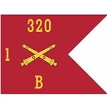 Guidons, Bravo Battery, 1st Battalion, 320th Field Artillery Regiment, 20-inch hoist by a 27-inch fly
