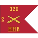 Guidons, Headquarters and Headquarters Battery, 2nd Battalion, 320th Field Artillery Regiment, 20-inch hoist by a 27-inch fly