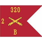 Guidons, Bravo Battery, 2nd Battalion, 320th Field Artillery Regiment, 20-inch hoist by a 27-inch fly