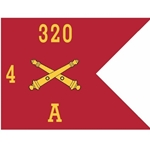 Guidons, Alpha Battery, 4th Battalion, 320th Field Artillery Regiment, 20-inch hoist by a 27-inch fly