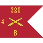 Guidons, Bravo Battery, 4th Battalion, 320th Field Artillery Regiment, 20-inch hoist by a 27-inch fly
