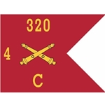 Guidons, Charlie Battery, 4th Battalion, 320th Field Artillery Regiment, 20-inch hoist by a 27-inch fly