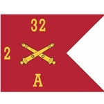 Guidons, Alpha Battery, 2nd Battalion, 32nd Field Artillery Regiment, 20-inch hoist by a 27-inch fly