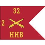 Guidons, Headquarters and Headquarters Battery, 2nd Battalion, 32nd Field Artillery Regiment, 20-inch hoist by a 27-inch fly