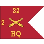 Guidons, Headquarters, 2nd Battalion, 32nd Field Artillery Regiment, 20-inch hoist by a 27-inch fly