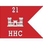 Guidons, Company HHC, 21st Engineer Battalion, 20-inch hoist by a 27-inch fly