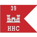 Guidons, Company HHC, 39th Engineer Battalion, 20-inch hoist by a 27-inch fly