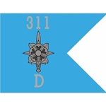 Guidons, Company D, 311th Military Intelligence Battalion, 20-inch hoist by a 27-inch fly