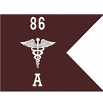 Guidons, Alpha Company, 86th CSH, 20-inch hoist by a 27-inch fly