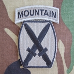 Patch, 10th Mountain Division, ACU with Mountain Tab with Velcro® One Piece 1