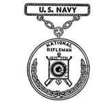 Badge, Qualification, National Rifleman, Navy, Pendant and Suspension Bar