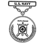 Badge, Qualification, Rifleman, Navy, Pendant and Suspension Bar