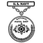 Badge, Qualification, National Pistol Shot, Navy, Pendant and Suspension Bar