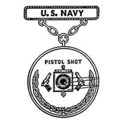 Badge, Qualification, Pistol Shot, Navy, Pendant and Suspension Bar