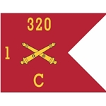 Guidons, Charlie Battery, 1st Battalion, 320th Field Artillery Regiment, 20-inch hoist by a 27-inch fly