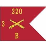 Guidons, Bravo Battery, 3rd Battalion, 320th Field Artillery Regiment, 20-inch hoist by a 27-inch fly