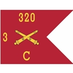 Guidons, Charlie Battery, 3rd Battalion, 320th Field Artillery Regiment, 20-inch hoist by a 27-inch fly