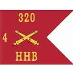 Guidons, Headquarters and Headquarters Battery, 4th Battalion, 320th Field Artillery Regiment, 20-inch hoist by a 27-inch fly