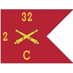 Guidons, Charlie Battery, 2nd Battalion, 32nd Field Artillery Regiment, 20-inch hoist by a 27-inch fly