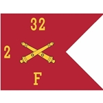 Guidons, Foxtrot Battery, 2nd Battalion, 32nd Field Artillery Regiment, 20-inch hoist by a 27-inch fly