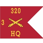 Guidons, Headquarters, 3rd Battalion, 320th Field Artillery Regiment, 20-inch hoist by a 27-inch fly