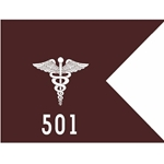 Guidons, 501st Area Support Medical Company (ASMC), 20-inch hoist by a 27-inch fly