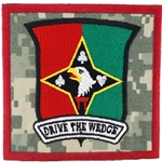 "Patch, 129th Combat Support Battalion, ""Drive the Wedge"", Type 2, ACU"