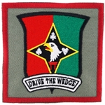 "Patch, 129th Combat Support Battalion, ""Drive the Wedge"", Type 2, Foliage Green"