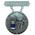 Badge, Qualification, Excellence in Competition, Pistol Shot, U.S. Air Force, Silver, 2nd Award, MIL-DTL-3628/86C