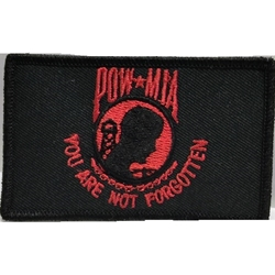 Patch, Prisoner of War / Missing in Action, Black/Red with Velcro®