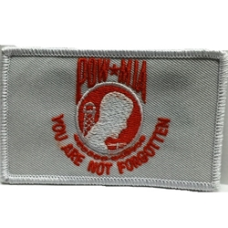 Patch, Prisoner of War / Missing in Action, White/Orange with Velcro®
