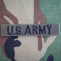 U.S. Army Nametape, Olive Drab Embroidered Insignia, Distinguishing, Nametape Tags G.I. with Velcro®