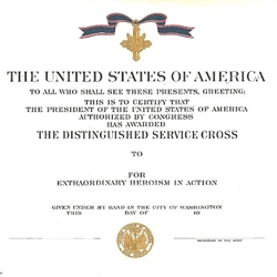 eagles of war certificate distinguished service cross army